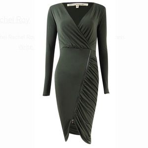 Long sleeve ruched jersey dress
